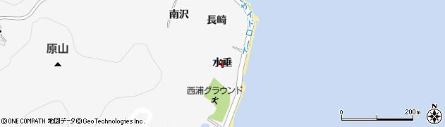 愛知県蒲郡市西浦町(水垂)周辺の地図