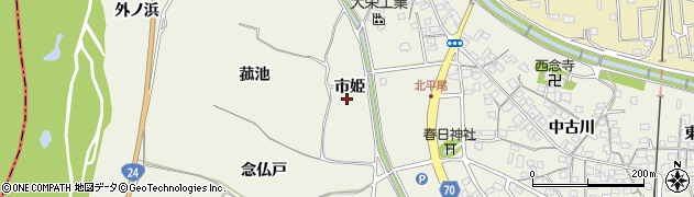 京都府木津川市山城町平尾(市姫)周辺の地図