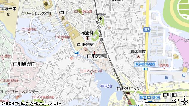 〒665-0075 兵庫県宝塚市仁川宮西町の地図