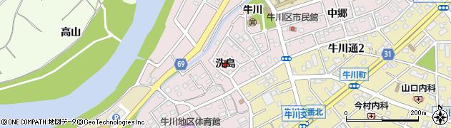 愛知県豊橋市牛川町(洗島)周辺の地図