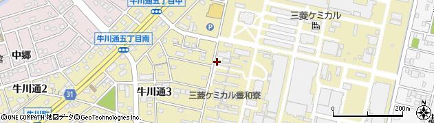 愛知県豊橋市牛川通周辺の地図