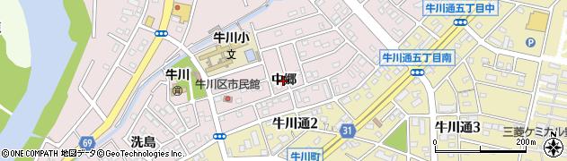 愛知県豊橋市牛川町(中郷)周辺の地図