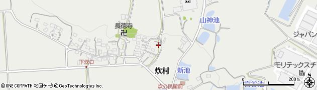 三重県伊賀市炊村周辺の地図