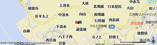 愛知県西尾市吉良町宮崎(山後)周辺の地図