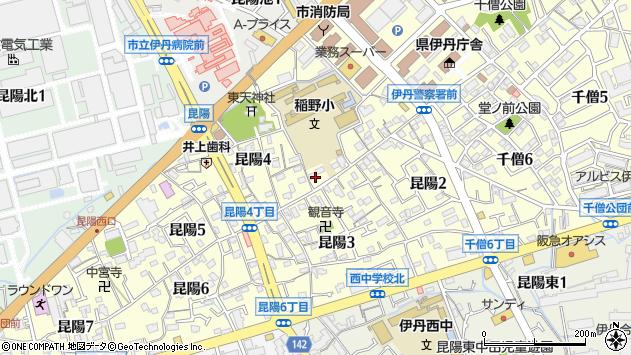〒664-0881 兵庫県伊丹市昆陽の地図