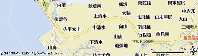 愛知県西尾市吉良町宮崎(中清水)周辺の地図