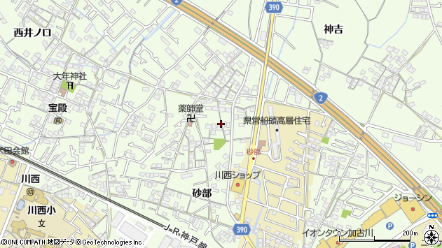〒675-0056 兵庫県加古川市東神吉町砂部の地図