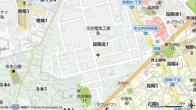 〒664-0016 兵庫県伊丹市昆陽北の地図
