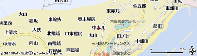 愛知県西尾市吉良町宮崎(中赤兀)周辺の地図