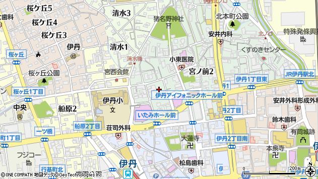 〒664-0895 兵庫県伊丹市宮ノ前の地図