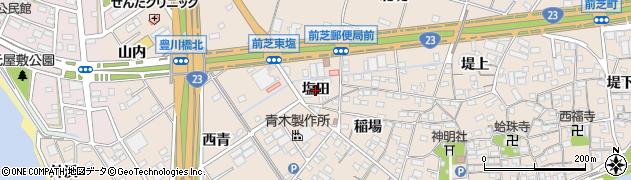 愛知県豊橋市前芝町(塩田)周辺の地図