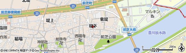 愛知県豊橋市前芝町(堤下)周辺の地図
