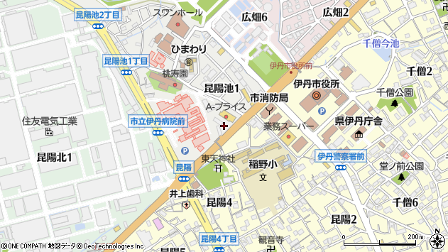 〒664-0015 兵庫県伊丹市昆陽池の地図