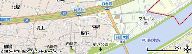 愛知県豊橋市前芝町(東堤)周辺の地図