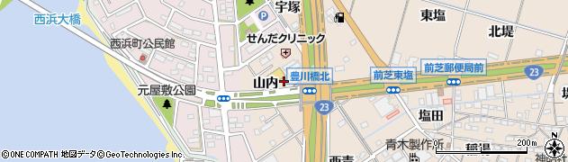 愛知県豊橋市前芝町(山内)周辺の地図