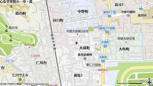 〒665-0055 兵庫県宝塚市大成町の地図