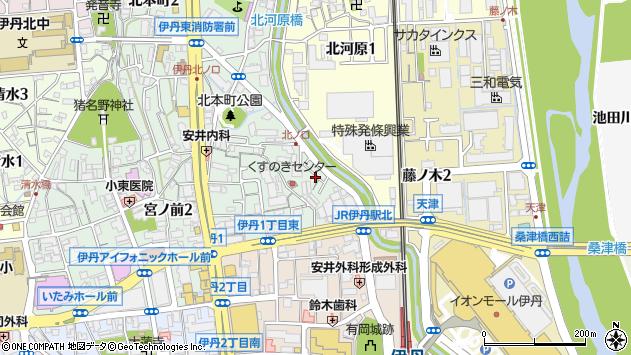 〒664-0836 兵庫県伊丹市北本町の地図
