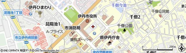 兵庫県伊丹市周辺の地図