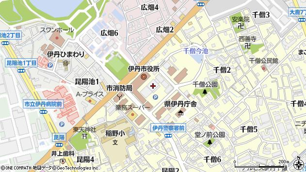 〒664-0000 兵庫県伊丹市(以下に掲載がない場合)の地図