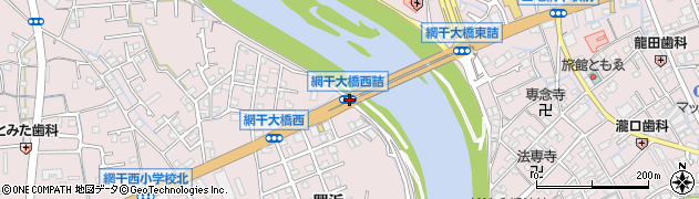 網干大橋西詰周辺の地図