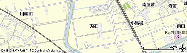 愛知県豊橋市下五井町(天王)周辺の地図