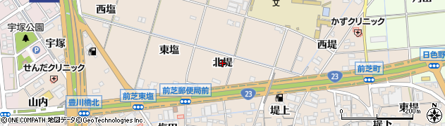 愛知県豊橋市前芝町(北堤)周辺の地図