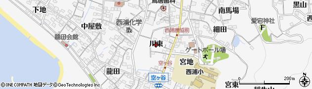 愛知県蒲郡市西浦町(川東)周辺の地図