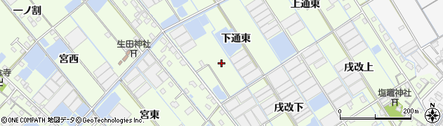 愛知県西尾市一色町千間(下通東)周辺の地図
