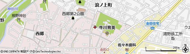 愛知県豊橋市牛川町(浪ノ上)周辺の地図