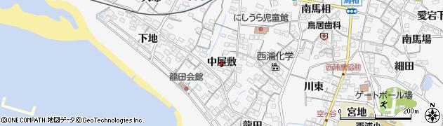 愛知県蒲郡市西浦町(中屋敷)周辺の地図