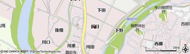 愛知県豊橋市牛川町(折目)周辺の地図
