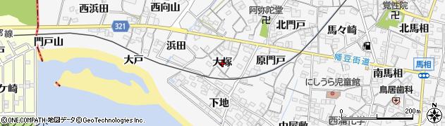 愛知県蒲郡市西浦町(大塚)周辺の地図