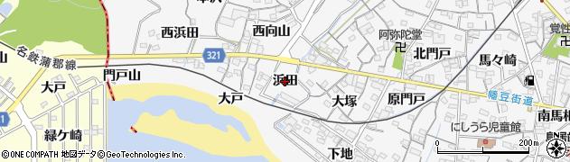 愛知県蒲郡市西浦町(浜田)周辺の地図