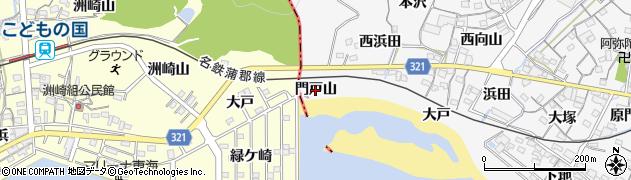 愛知県蒲郡市西浦町(門戸山)周辺の地図