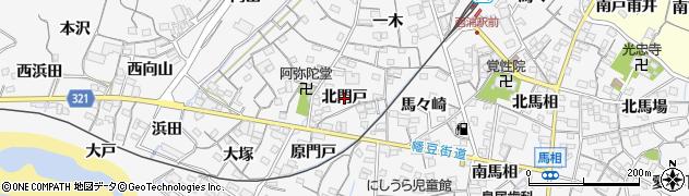 愛知県蒲郡市西浦町(北門戸)周辺の地図