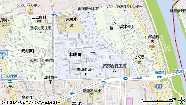 〒665-0044 兵庫県宝塚市末成町の地図