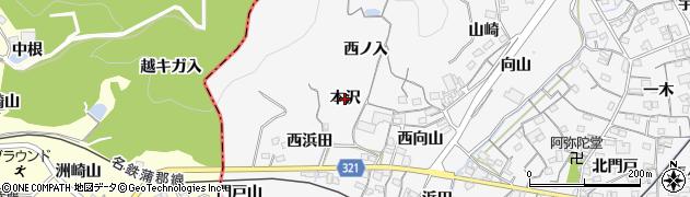 愛知県蒲郡市西浦町(本沢)周辺の地図