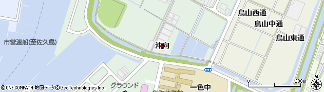 愛知県西尾市一色町坂田新田(沖向)周辺の地図
