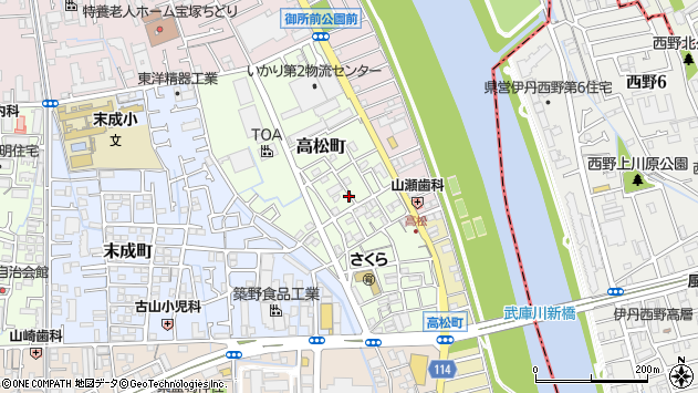 〒665-0043 兵庫県宝塚市高松町の地図