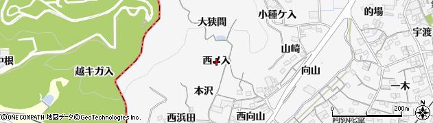 愛知県蒲郡市西浦町(西ノ入)周辺の地図