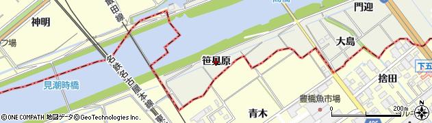 愛知県豊川市小坂井町(笹見原)周辺の地図