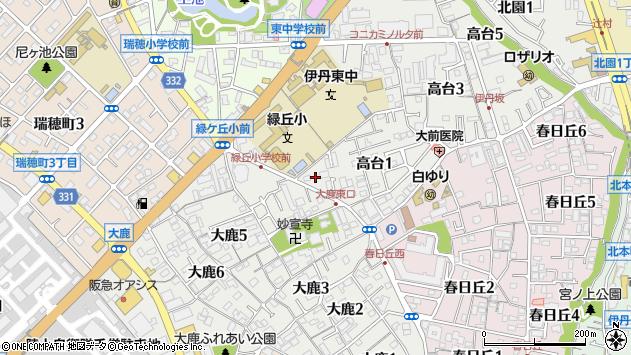 〒664-0892 兵庫県伊丹市高台の地図