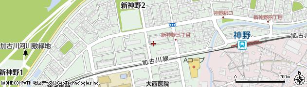 兵庫県加古川市新神野周辺の地図