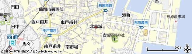 愛知県蒲郡市形原町(北古城)周辺の地図