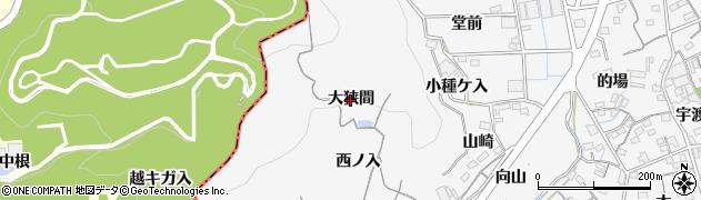 愛知県蒲郡市西浦町(大狭間)周辺の地図