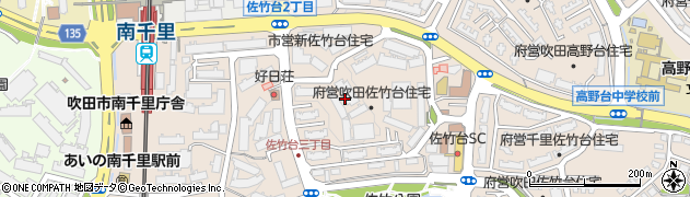 府営千里佐竹台団地周辺の地図