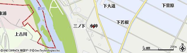 愛知県豊橋市下条西町(水神)周辺の地図