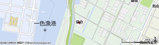 愛知県西尾市一色町坂田新田(築合)周辺の地図