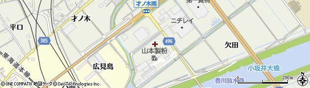 愛知県豊川市小坂井町(八幡田)周辺の地図