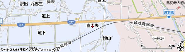 愛知県西尾市吉良町乙川(喜太夫)周辺の地図